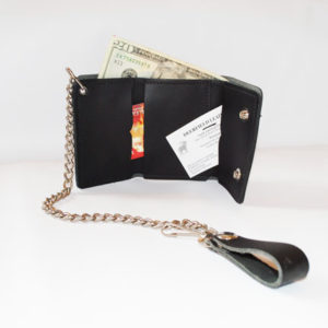 TriFold Leather Chain Wallet
